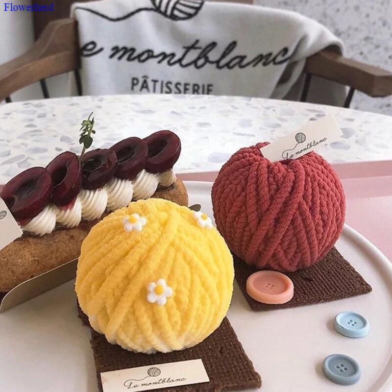 Corea Ins simulación de grupo de lana de espuma molde de silicona bola de lana Diy Material Aroma molde para velas hechas a mano jabón molde de silicona
