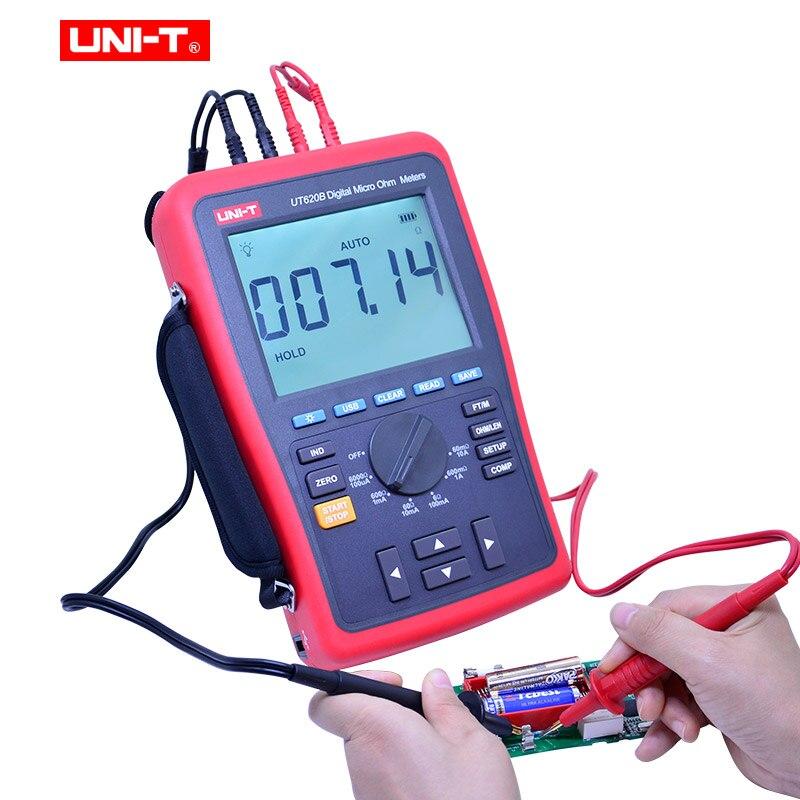 UNI-T UT620B الرقمية مايكرو أوم متر دليل المدى LCD 60000 التهم عرض عالية/منخفضة الحد إنذار USB واجهة