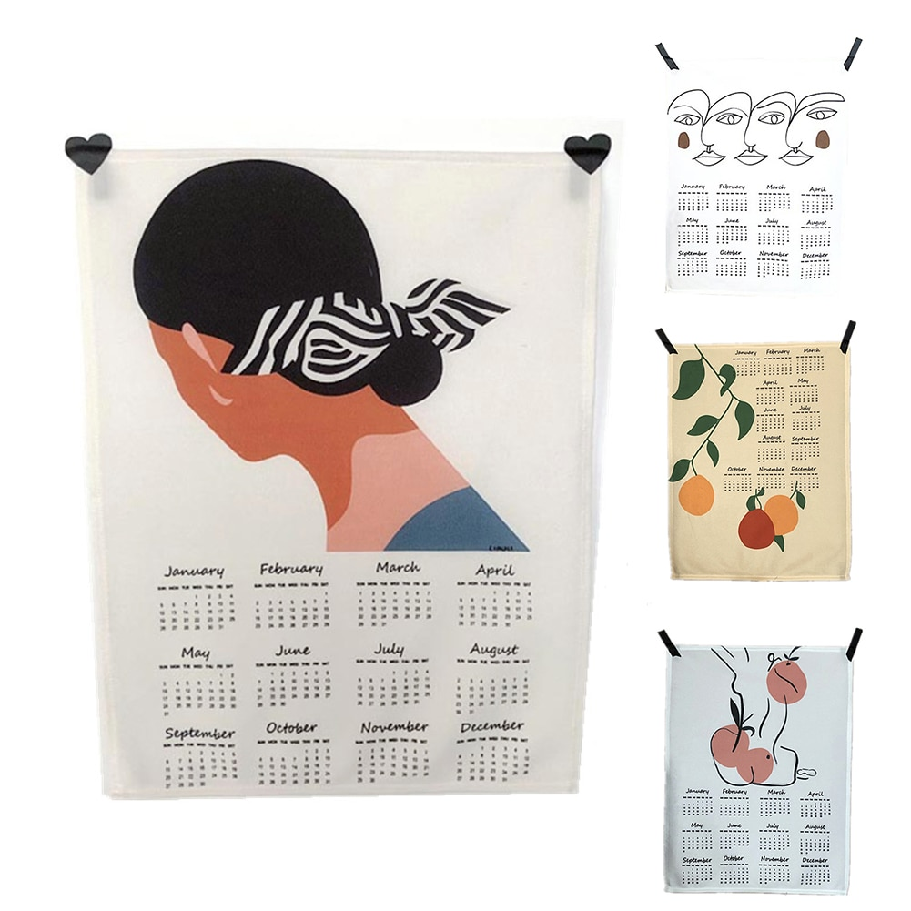 Calendario de tela 2020, decoración de pared minimalista nórdica, decoración de tela de fondo, 39x48cm