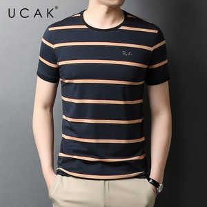 UCAK Brand Classic O-Neck Striped Short Sleeve T-Shirts Summer New Fashion Arrivals Streetwear Tops Casual T Shirt Homme U5554