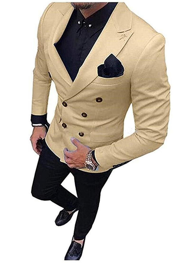 Handsome Double-Breasted Groomsmen Peak Lapel Groom Tuxedos  Men Suits Wedding/Prom/Dinner Best Blazer(Jacket+Pants+Tie) 048