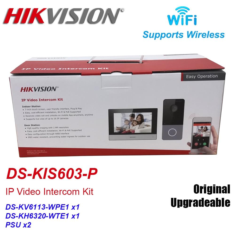 Hikvision DS-KIS603-P IP Video Intercom Kit DS-KV6113-WPE1 + DS-KH6320-WTE1 Standard POE Doorbell Door Station WIFI Monitor