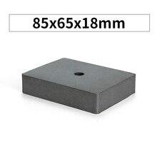 RKZCT 1 pièce bloc céramique aimant 85x65x18mm avec trou noir Ferrite cuboïde aimants rectangulaire magnétique pour Suspension de bureau
