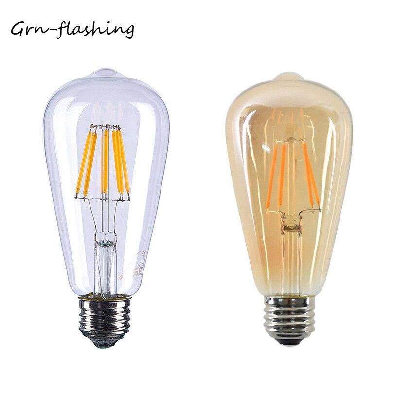 Светодиодная лампа накаливания Эдисона ST64, 4 Вт, 6 Вт, 8 Вт, 220 В, E27, старинные ретро