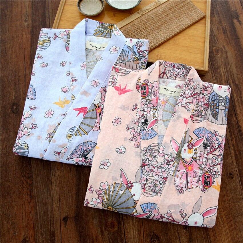 Cárdigan para dormir holgado fino conjunto de pijamas de mujer Yukata Kimono japonés de verano de algodón de manga corta fresco Harajuku lindo desgaste del hogar