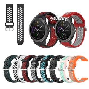 20mm 22mm Sport Silicone Breathable Strap For Garmin Vivoactive 3 Music element For Garmin Venu Sq Smart Watch Wristband