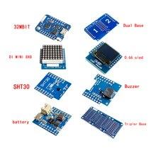 Esp8266 D1 Mini Pro Wifi Nodemcu Data Logger Shield Ds1307 Battery 0.66 Oled Dc Power Buzzer V1.0.0 Dual Base For Wemos Diy Kit