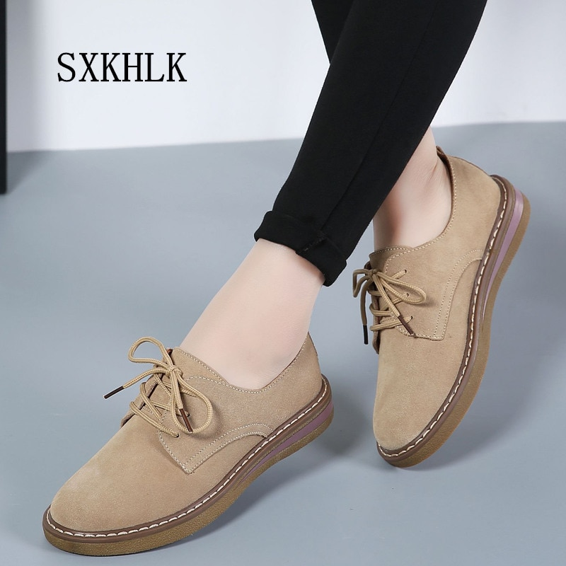 2019 otoño zapatos planos de mujer Zapatillas de cuero de gamuza con cordones zapatos de barco zapatos de punta redonda oxford para mujer
