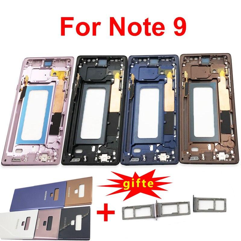 Para Samsung Galaxy Note 9 N960 N960F N960FD N9600 marco medio bisel chasis carcasa note9 cubierta con tarjeta Sim titular pegatina