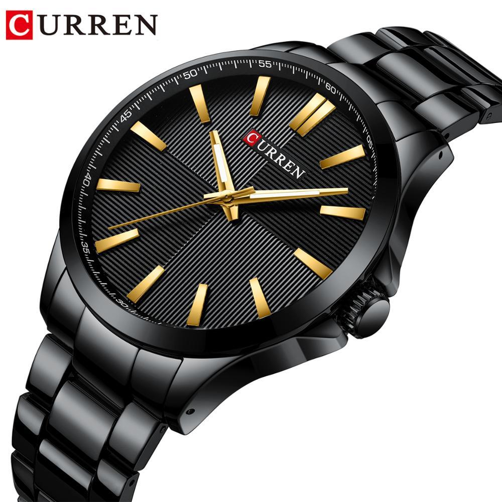 CURREN Black Men Business Watches Stainless Steel Waterproof Sport Clock Reloj Dorado Hombre Male Watch