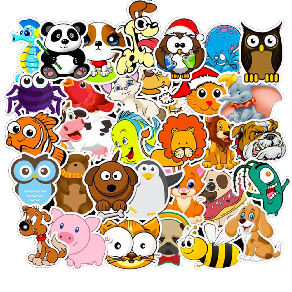 10/30/50PCS Kawaii Animal Cartoon Stickers Car Motorcycle Luggage Guitar Skateboard Waterproof Classic Toy Kid Decal Stickers