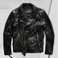 leather jacket mens lapel oblique zipper motorcycle clothing first layer yellow cowhide leather coat mens jacket