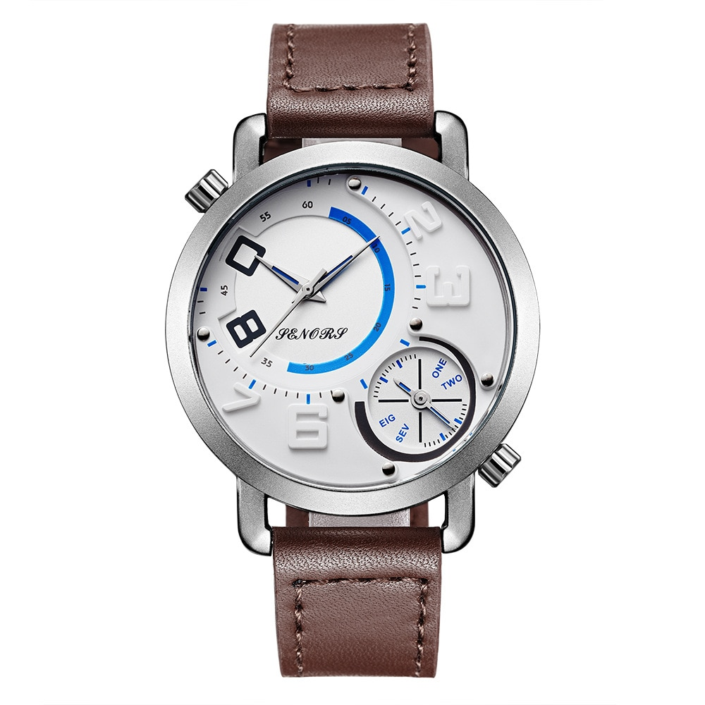 Watch Men Fashion Sport Dual Time Zone Quartz Simple Sports Waterproof Mens Belt Watches
