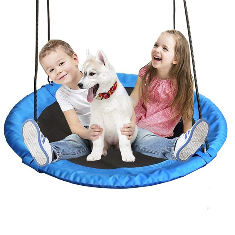 100cm New Children Hanging Swing Round Chair with Rope Oxford Cloth Hammock Courtyard Seat Outdoor Garden Kids Toys