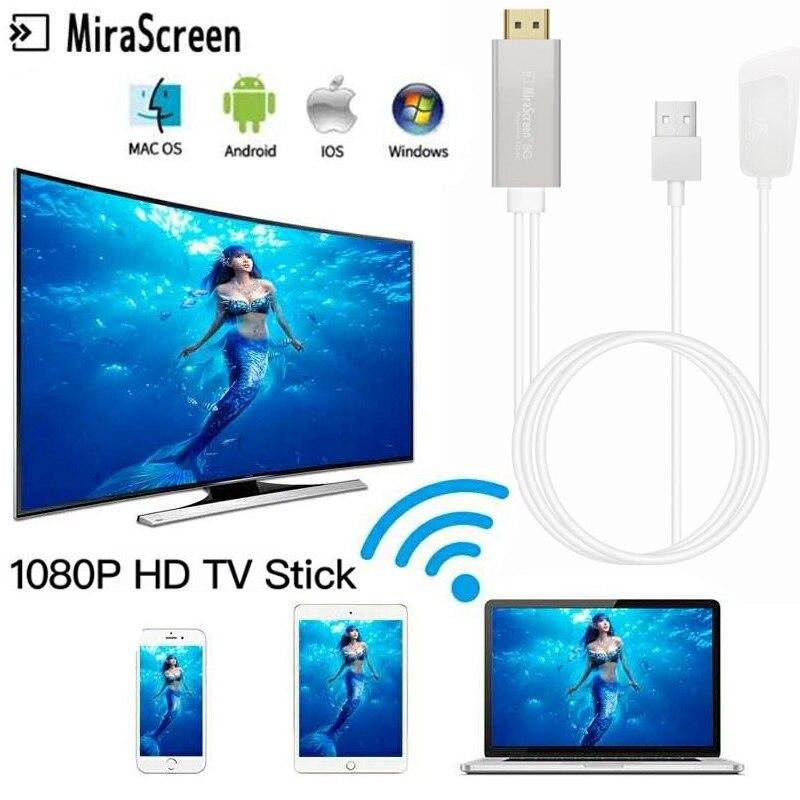 Vara sem Fio Adaptador para Ios Mirascreen Android tv Hdmi Miracast Airplay Wifi Display Dongle Receptor Hdtv Mac Windows 2.4g – 5g