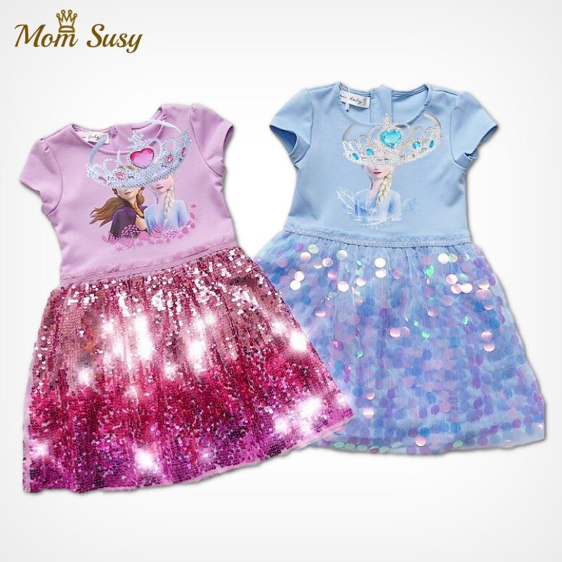 Bebé niña princesa Elsa Anna lentejuelas Vestido con corona de niña de verano Snowqueen Vestido de fiesta de cumpleaños Vestido Patchwork de malla de ropa