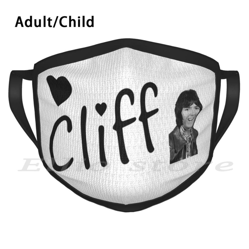 Cliff Richard-Heart 3 Print Washable Anti Dust Scarf Mask Cliff Richard Cliff Richard 1970 70s 70 1970s Pop Nan Old