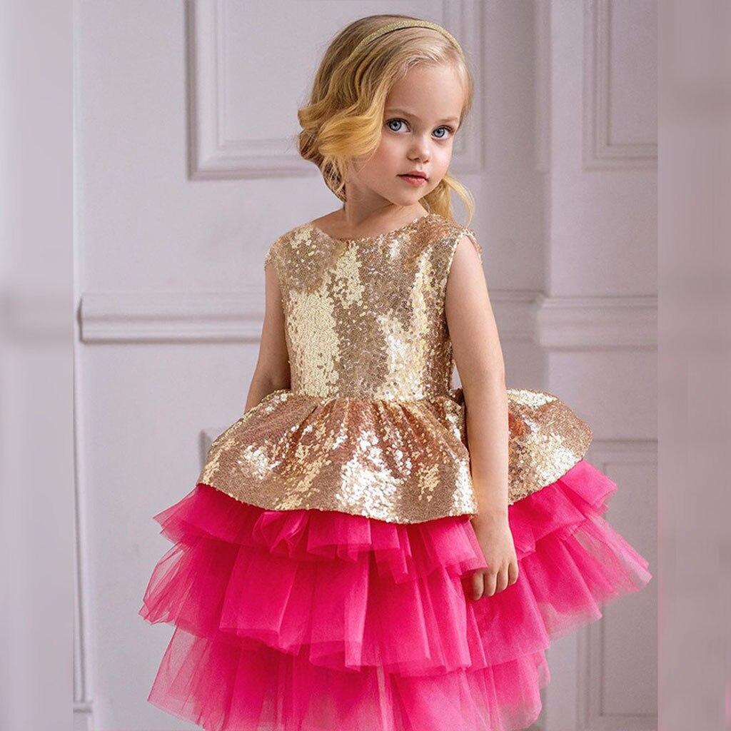 Vestido de lentejuelas para niñas, vestidos de dama de honor a la moda para niñas pequeñas, vestidos de princesa para niñas, vestidos de fiesta con flores para niñas, vestidos elegantes para niños