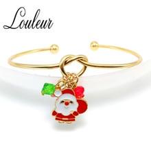 9 Styles Gold Color Cuff Bangle Christmas Tree Deer Santa Claus Pendant Open Bangle Bracelet For Women Girl Gift