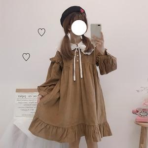 Corduroy Tea Party Japanese Kawaii Clothing Girl Navy Collar Daily Soft Girl Tea Party Gothic Lolita Dress Op Autumn Winter
