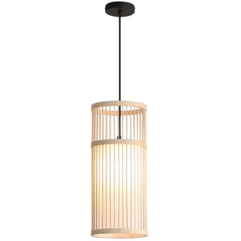 Lámpara de araña pequeña con estilo, lámpara de tejido, lámpara de estar en casa Zen, sala de té japonesa, nueva cabeza de bambú china, bombillas LED para casa, restaurante