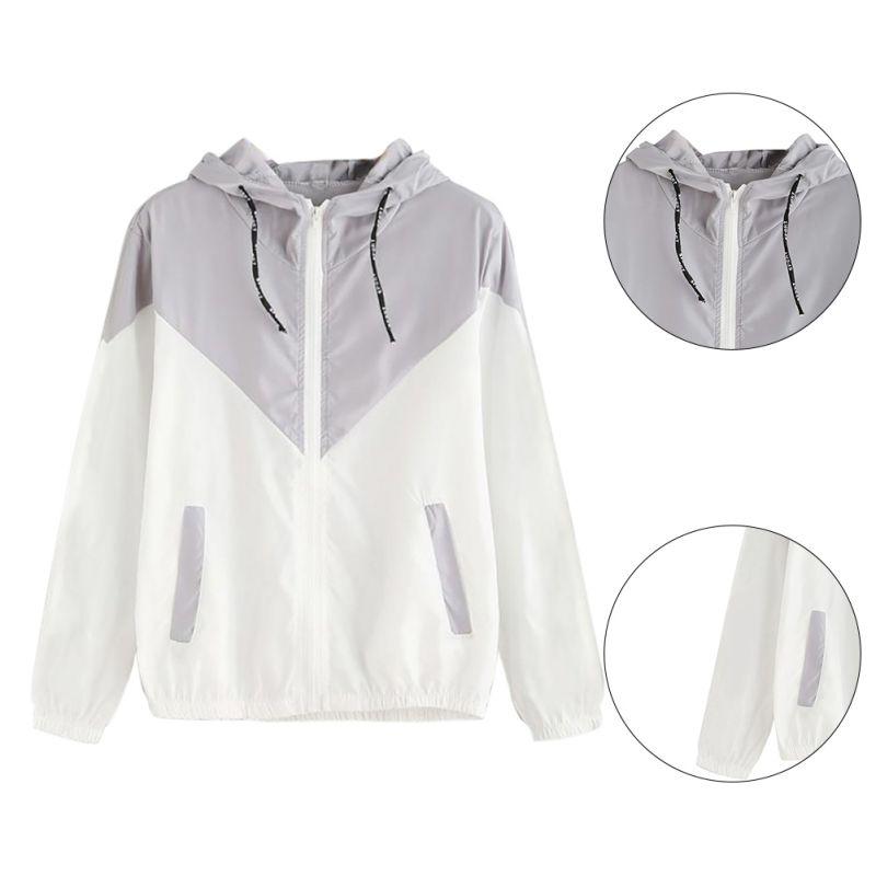 Women Basic Jackets Female Zipper Pockets Casual Long Sleeves Coats Autumn Hooded Jacket Two Tone Wi