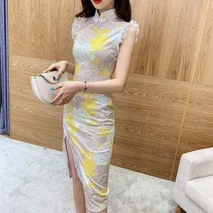 Sexy Chinese Dress Qipao for Women Party Printed Sheath Bodycon Slit Lace Cheongsam Elegant Summer Sleeveless Modern Cheongsam