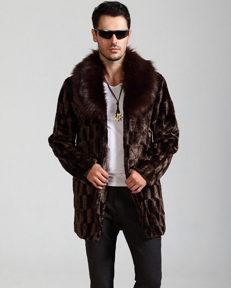 European and American winter fashion faux fur coat men's long brown warm and comfortable casual lapel mink jacket