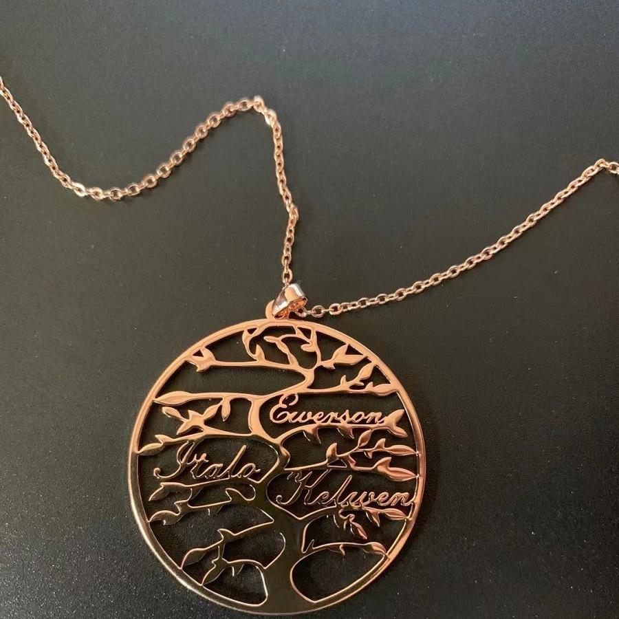 Ожерелья с именем на заказ, ожерелье с именем жизни и деревом семьи, ожерелье с именем на заказ из нержавеющей стали, подвеска с именем, ожере...