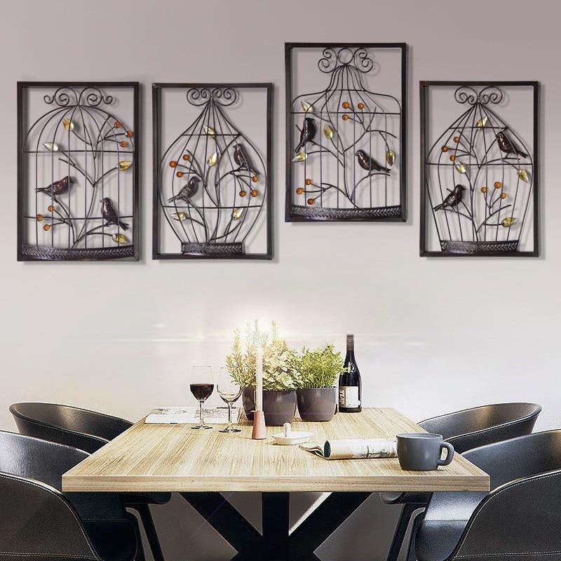 Escultura de decoración de pared con marco de decoración de pared, estatua colgante de pared para sala de estar, decoración del hogar, jaula de pájaros de hierro chino abstracto