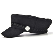 Women Vintage Black Beret Fashion Streetwear Rope Casual Flat Cap Winter Autumn Spring Warm Wool Ble