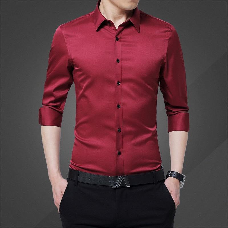 2020 New Long Sleeve Shirt Men Clothes Summer Mens Shirts Casual Slim Cotton Tshirts