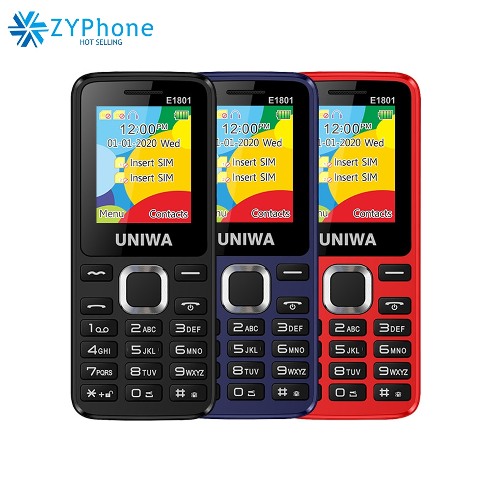 Double Sim Dual Standby 1.77 Radio Radio 800mah Mp3 Mp4 Fm Radio Speaker 8 Day Standby Senior Feature Phone Uniwa e1801