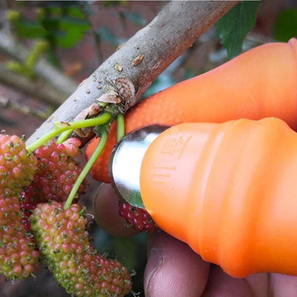1 pieza de silicona pulgar cortador de verduras de tomate recolector de frutas dedo separador afilada hoja de corte de mano de herramientas de jardinería
