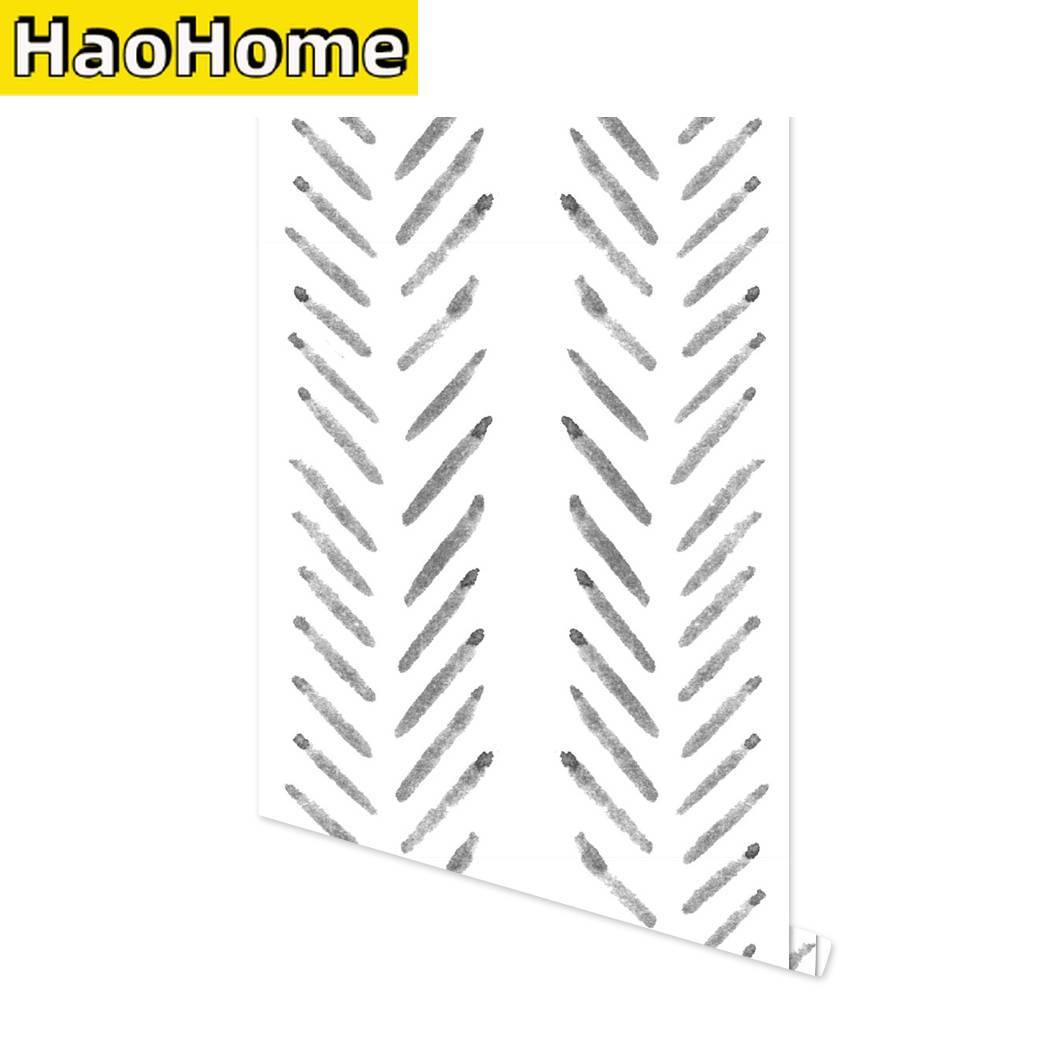 Herringbone Lines Geometry Prepasted Self-Adhesive Wallpaper Black and White Modern Stripe Vinyl Peel and Stick Wallpaper Wall