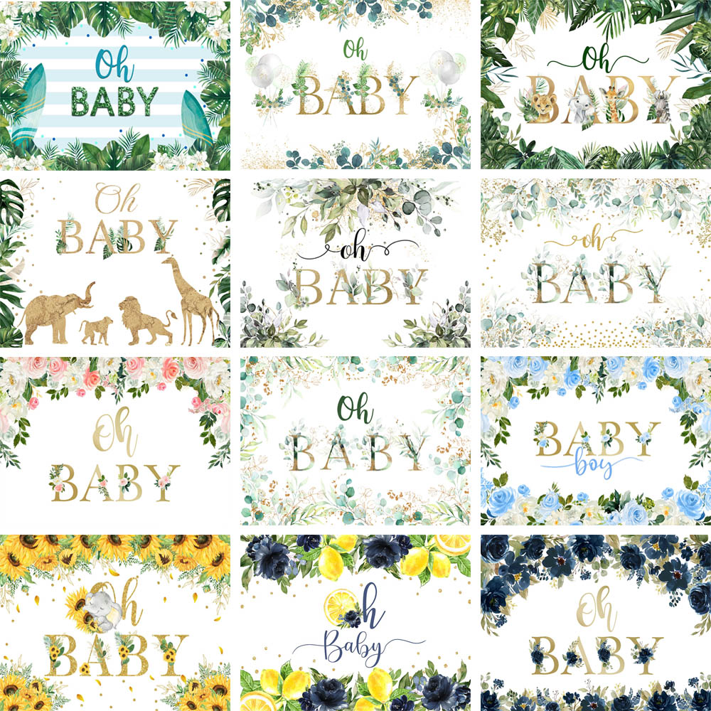 Oh Baby Newborn Birthday Background Cake Table Decoration Props Animals Flowers Green Leaf Photo Studio Baby Shower Backdrops allenjoy photography backdrops background stage dancers pink green bokeh watercolor baby shower newborn props spring princess