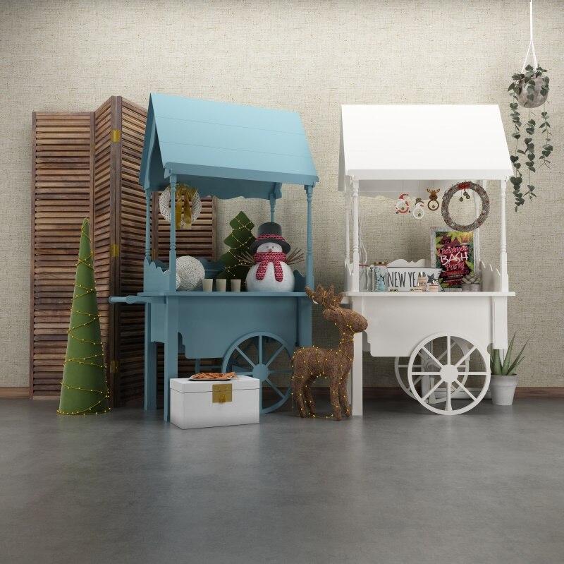 Foto de fondo de bebé cabina carrito pantalla juguetes de Navidad Reno fiesta decoración niño retrato fotografía de fondo estudio fotográfico