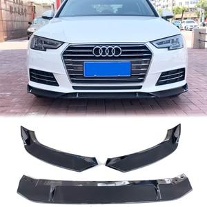 Carbon Fiber Look Black Front Bumper Lip Body Kit Spoiler Splitter Guard For Audi A4 B9 Sedan 2017 2018 Car Styling