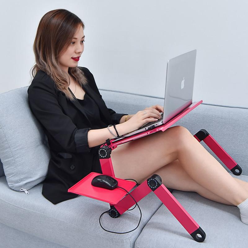 Регулируемый ноутбук Стенд для кровати Портативный Lap стол складной ноутбук Рабочая станция Ноутбук Riser с мышью Pad Side Эргономичный компьюте...