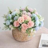 Les fleurs artificielles ne se decoloreront pas pour la fete des meres  Sept sortes de fleurs artificielles en soie  oeillets  sont largement utilises pour la decoration de la maison