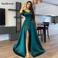smileven dark green sweetheart mermaid evening dresses detachable train side split dubai prom gowns formal party celebrity dress