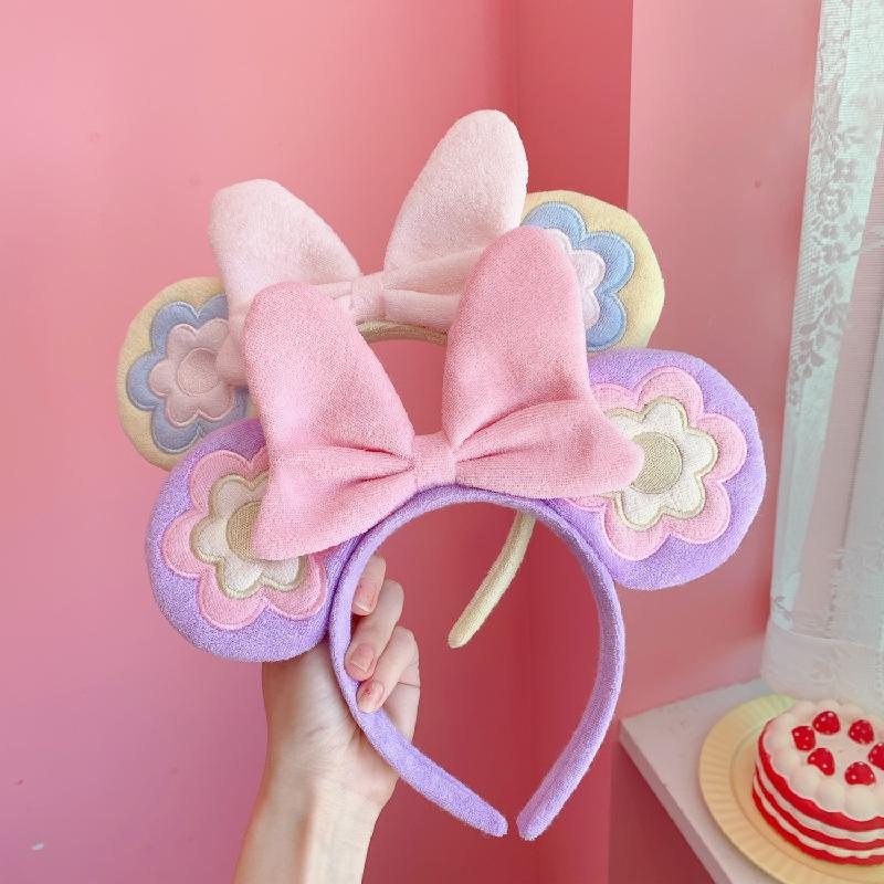 Mickey Minnie Mouse Ears Headband Red Bowknot Girl Bowknot Hair Hoop Disney land Birthday Party Decoration Gift Pretend Toy