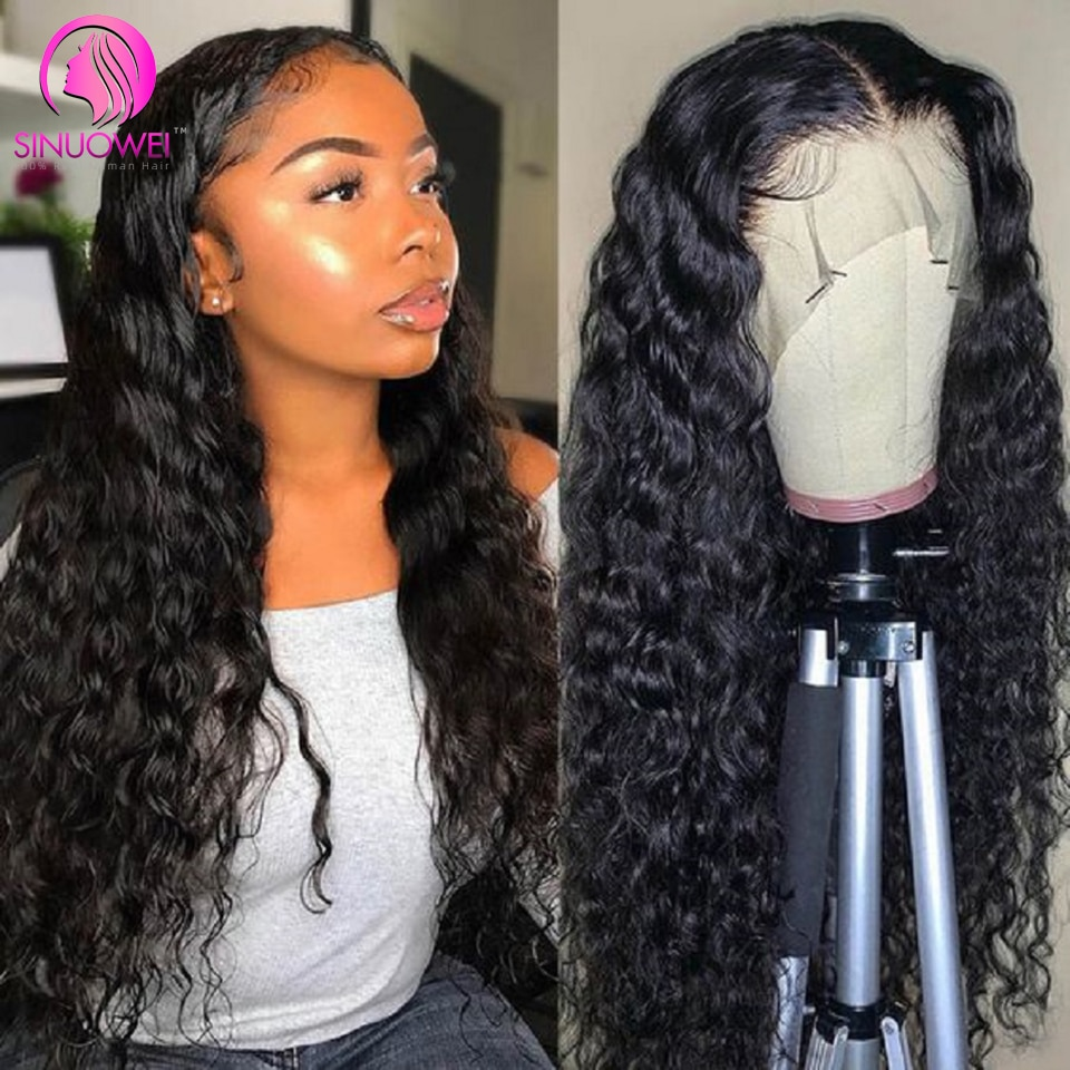 Water Wave 13X1 T Part Lace Human Hair Wigs Brazilian 150% Density T Lace Remy Human Hair Wig 28 Inch Long Wig For Black Women