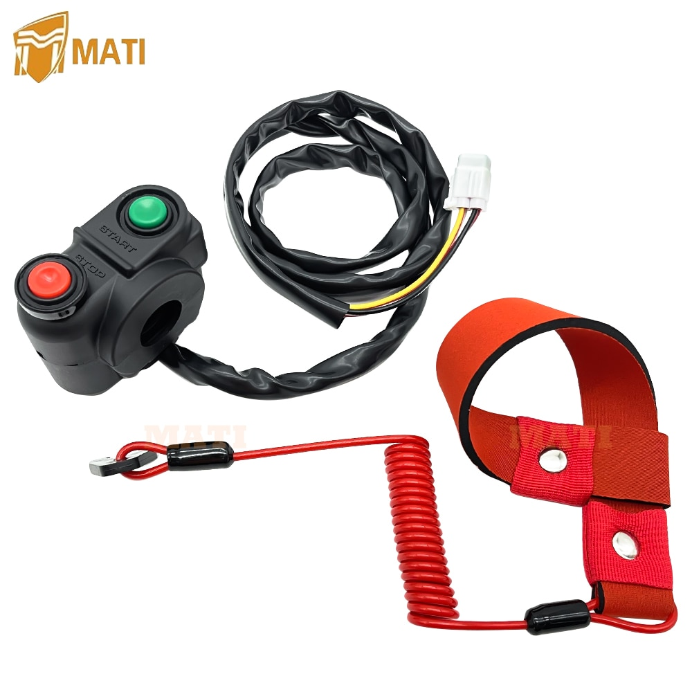 Start Stop Switch with Safety Tether Lanyard for Kawasaki JT900 JT1100 JT1200 JT1500 13151-3722 92072-3809 92072-3816 enlarge