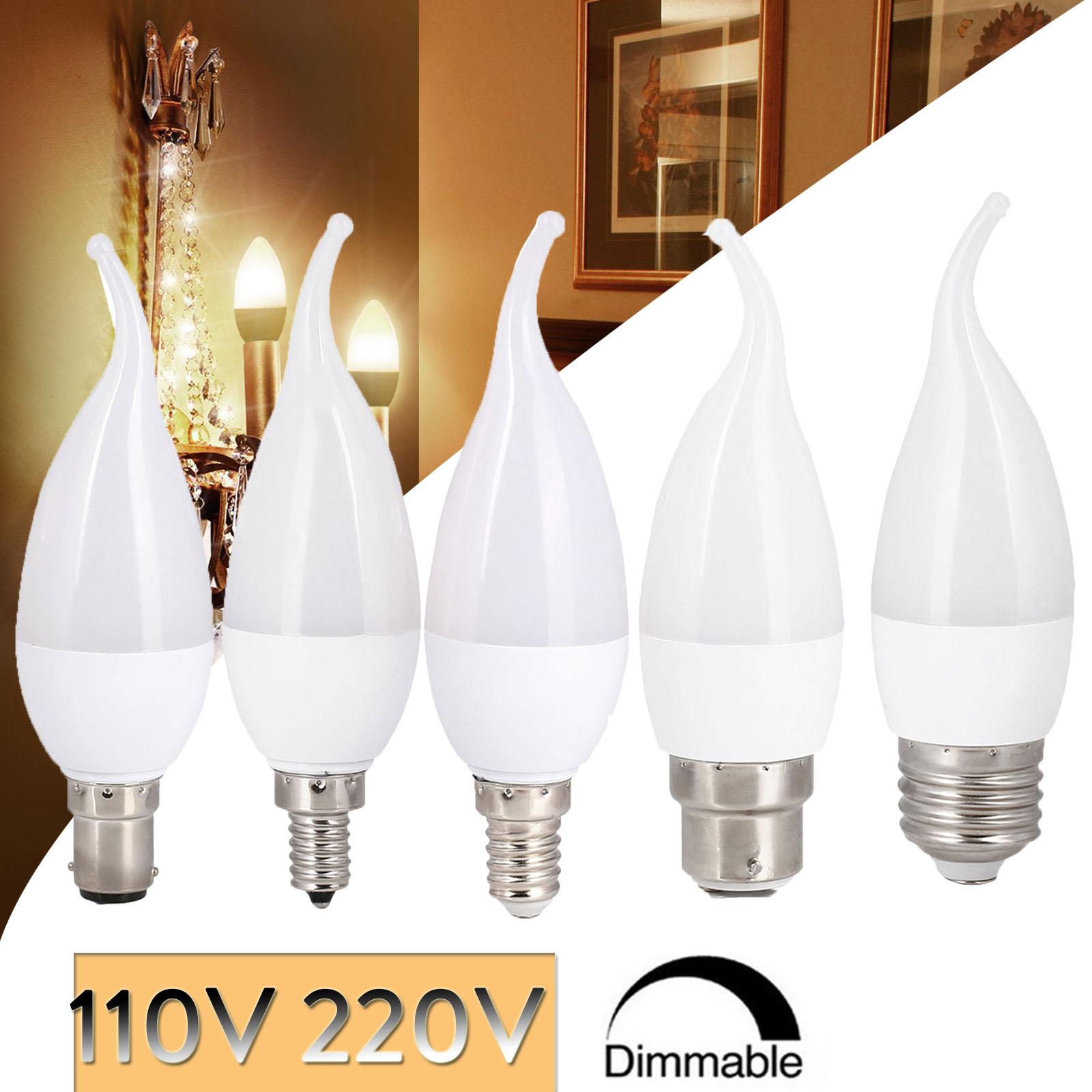 Bombilla LED regulable en forma de llama, vela de 3W, E14, E27,...