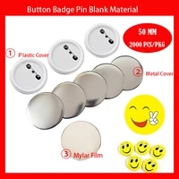 2000pcs 50mm diy button badge pin raw material button badge supplies parts plastic back and metal back badge for choose