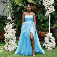 baby blue bridesmaid dresses scoop floor length soft tulle a line side slit bridesmaid dress wedding party dresses with zipper