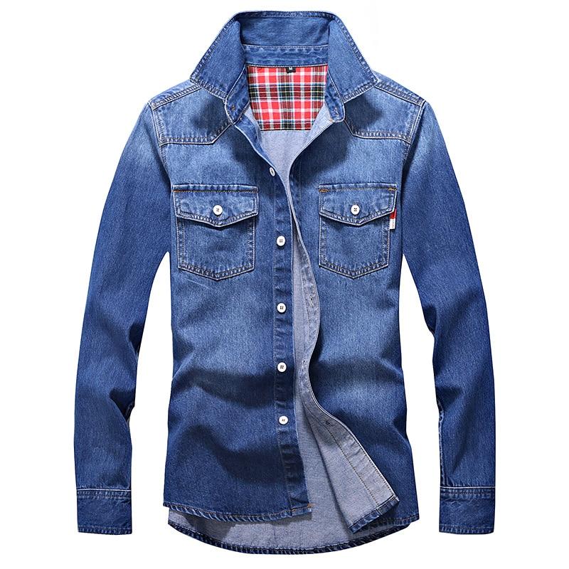 AliExpress - Denim Shirt Men Cotton Jeans Shirt Fashion Autumn Slim Long Sleeve Cowboy Shirt Stylish Wash Slim Tops Asian Size 3XL