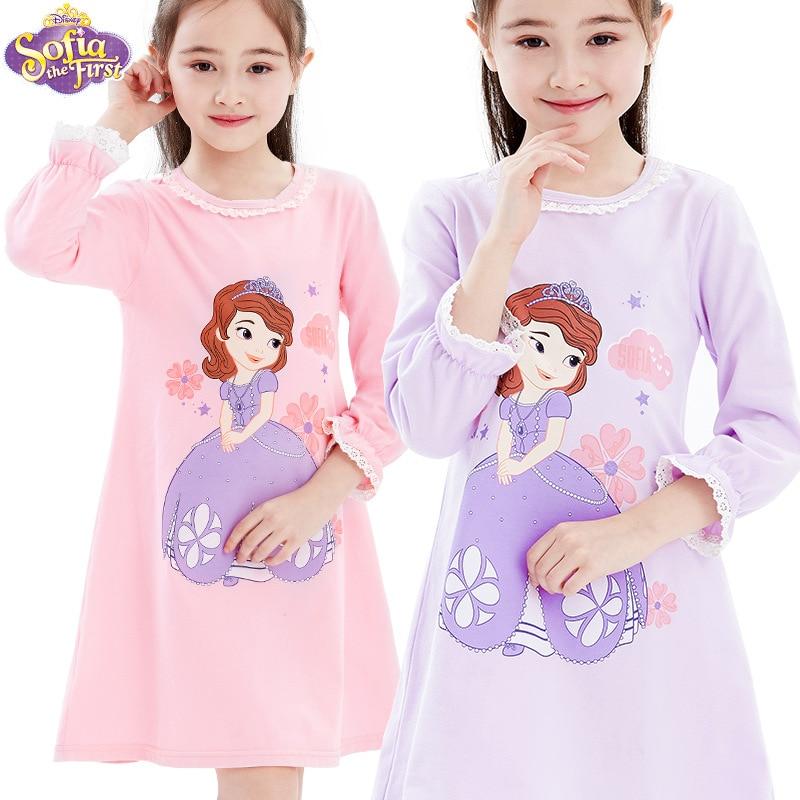 الأصلي ديزني الفتيات منامة قميص قطني بكم طويل ثوب النوم ثوب أطفال المنزل ارتداء منامة للفتيات