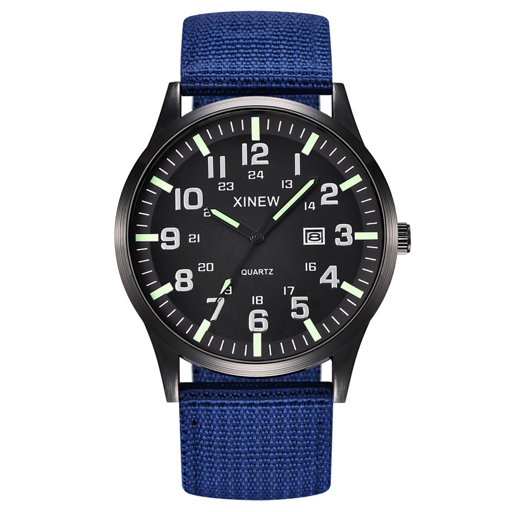 2021 Men Simple Style Watches Boy Round Dial Nylon Strap Band Military LED Luminous Date Quartz Wrist Watch Relogio Masculino